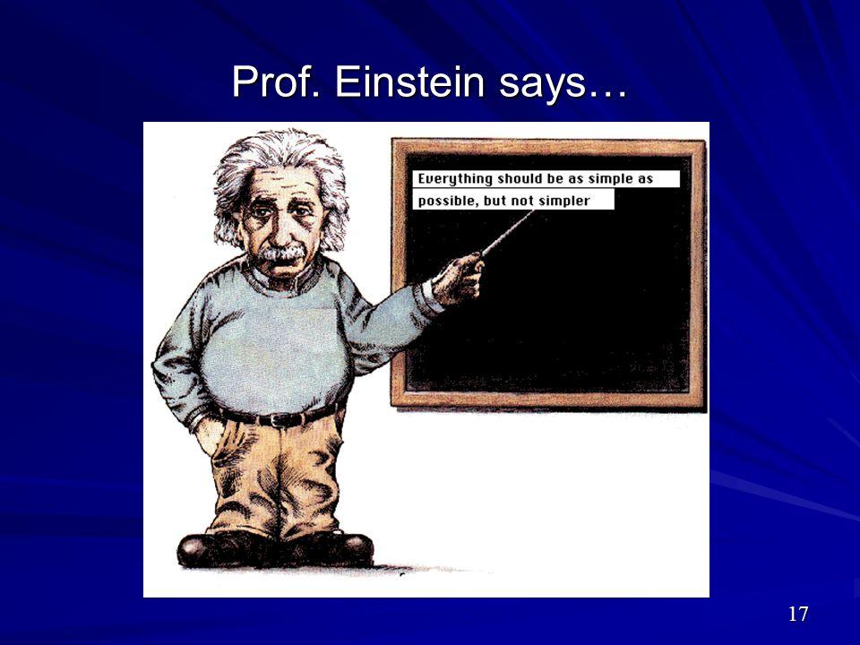 Prof. Einstein says…