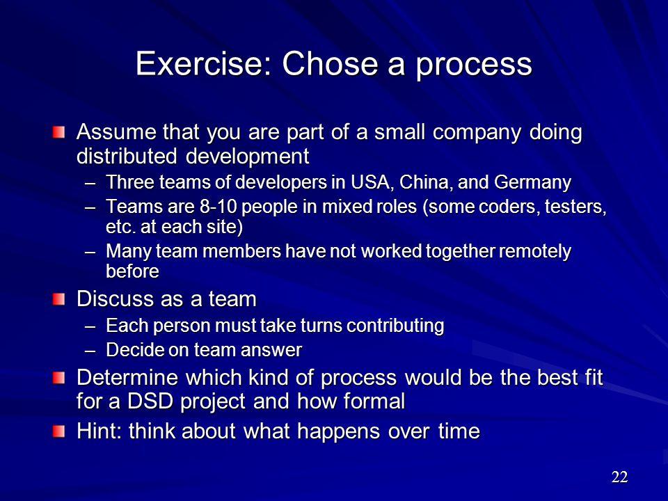 Exercise: Chose a process
