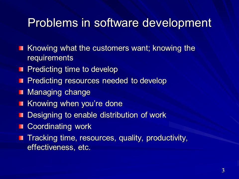 Problems in software development