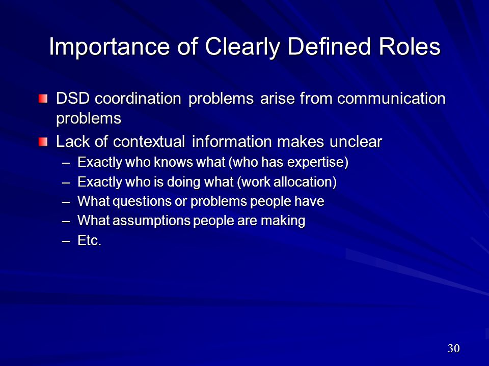 Importance of Clearly Defined Roles