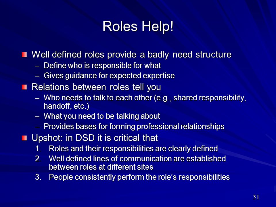 Roles Help! Well defined roles provide a badly need structure