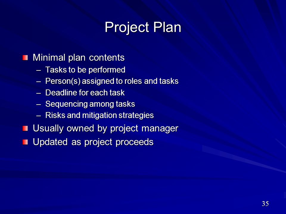 Project Plan Minimal plan contents Usually owned by project manager