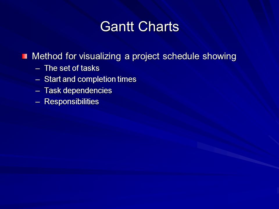 Gantt Charts Method for visualizing a project schedule showing