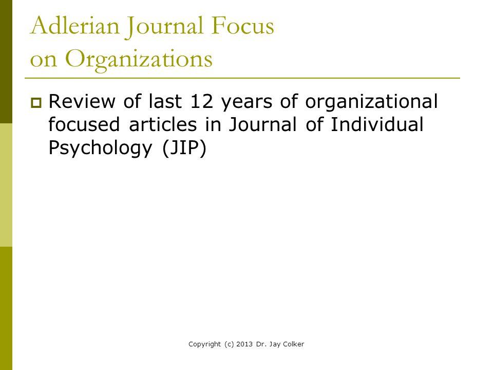 Adlerian Journal Focus on Organizations