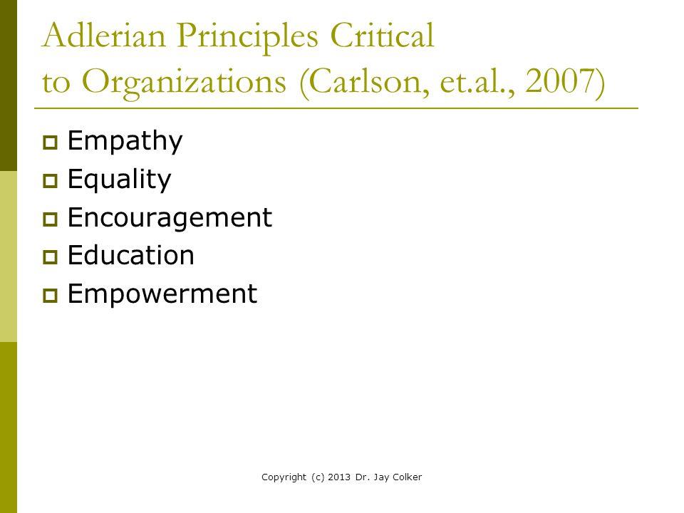 Adlerian Principles Critical to Organizations (Carlson, et.al., 2007)