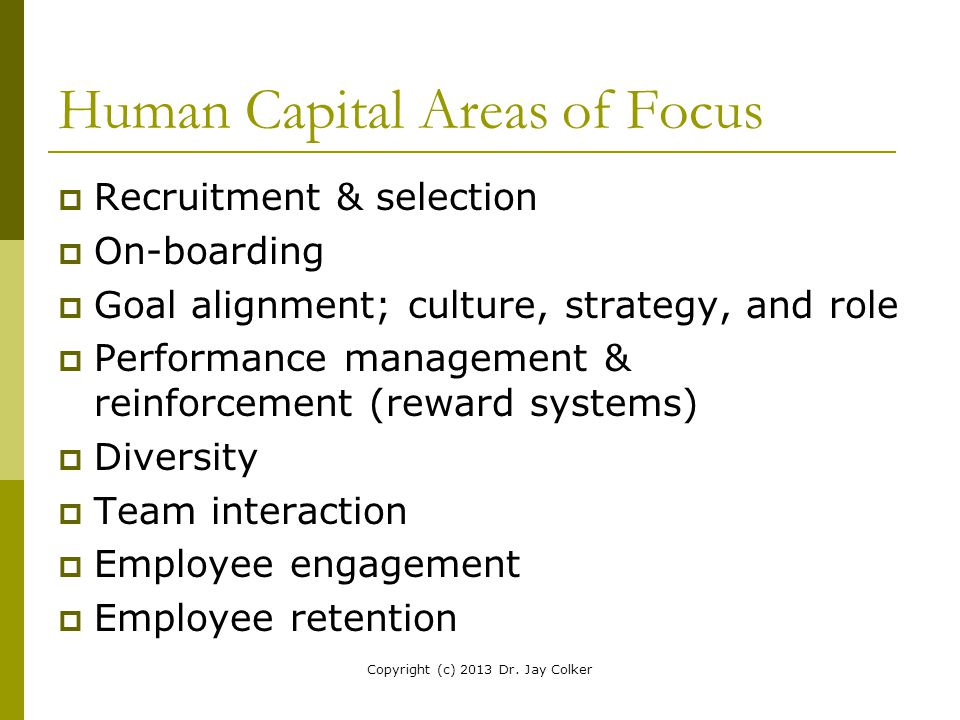 Human Capital Areas of Focus