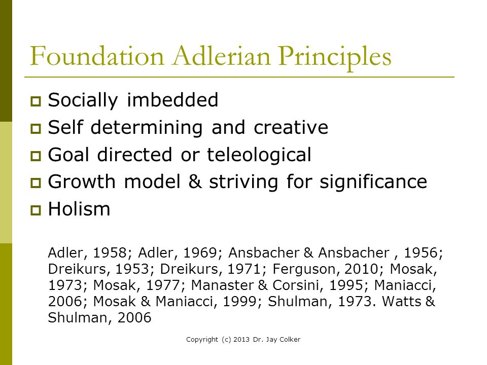 Foundation Adlerian Principles