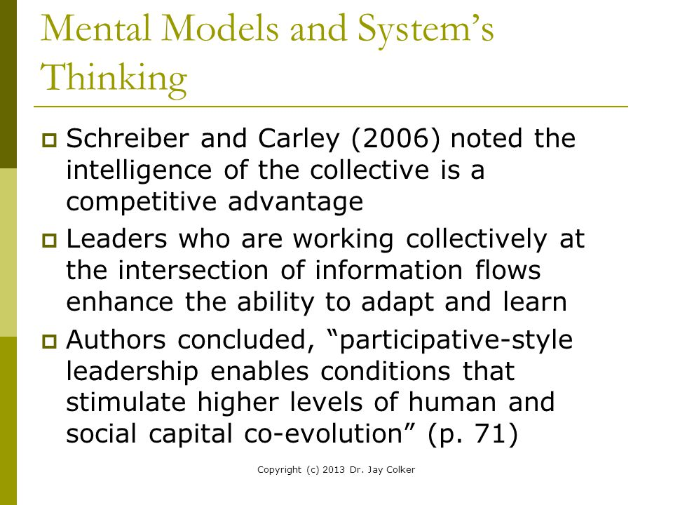 Mental Models and System's Thinking