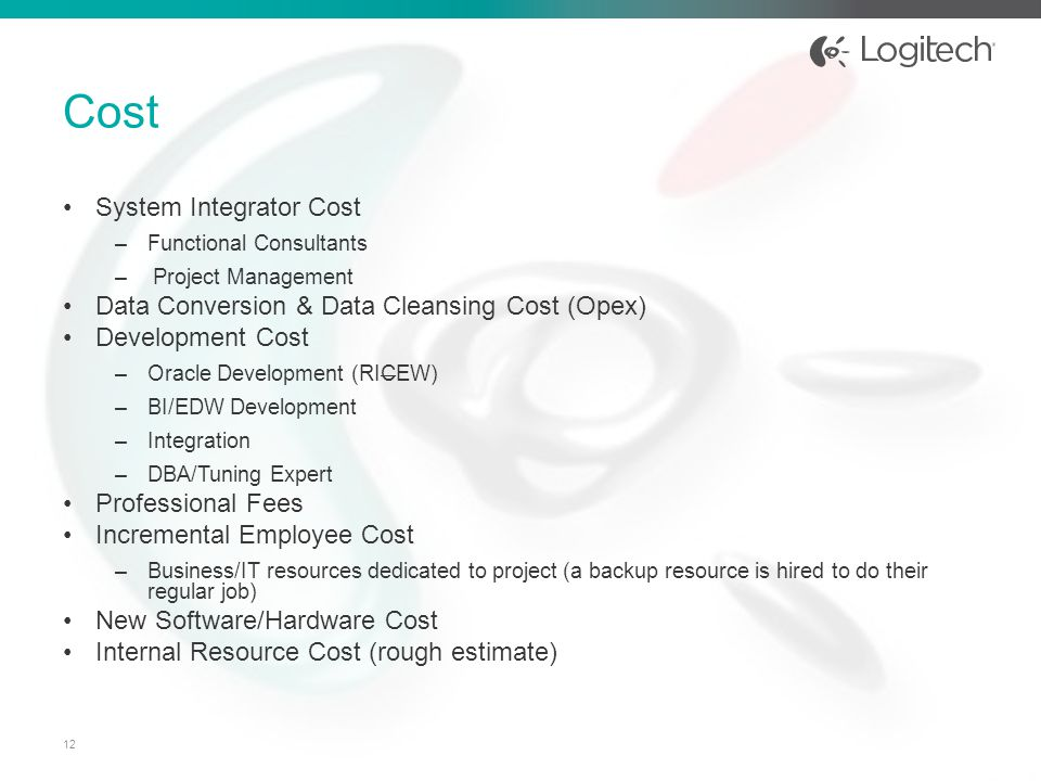 Cost System Integrator Cost