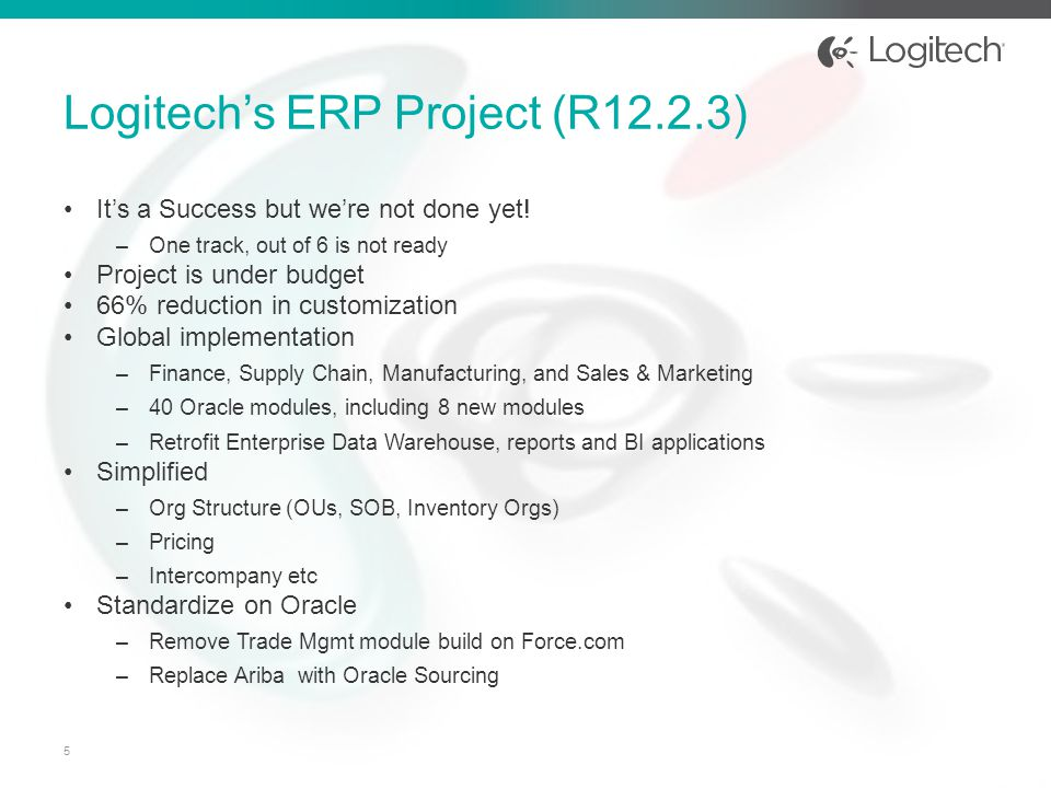 Logitech's ERP Project (R12.2.3)