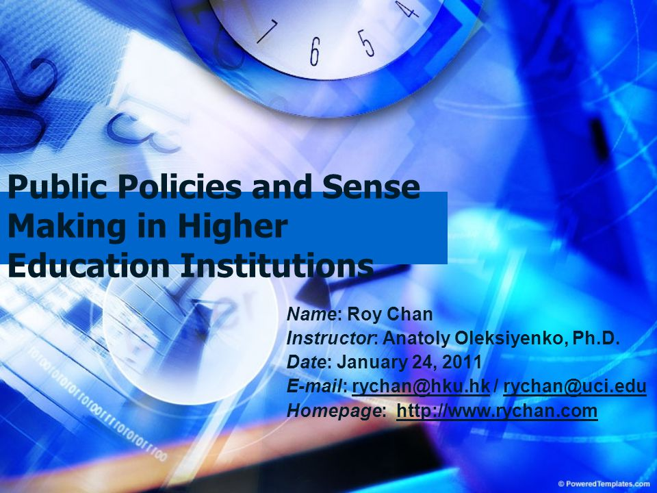 Public Policies and Sense Making in Higher Education Institutions