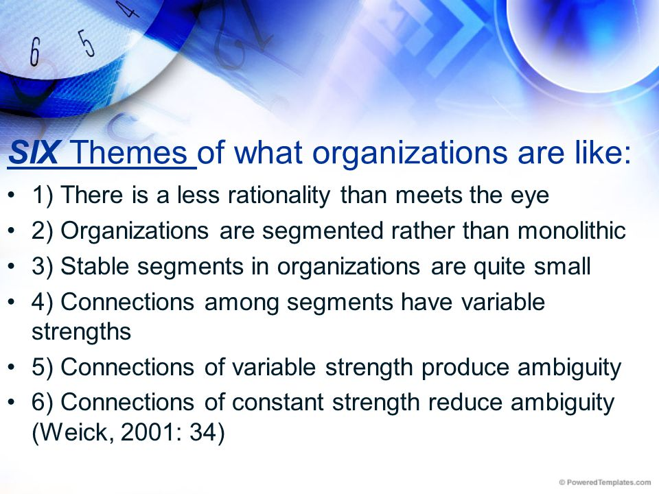 SIX Themes of what organizations are like:
