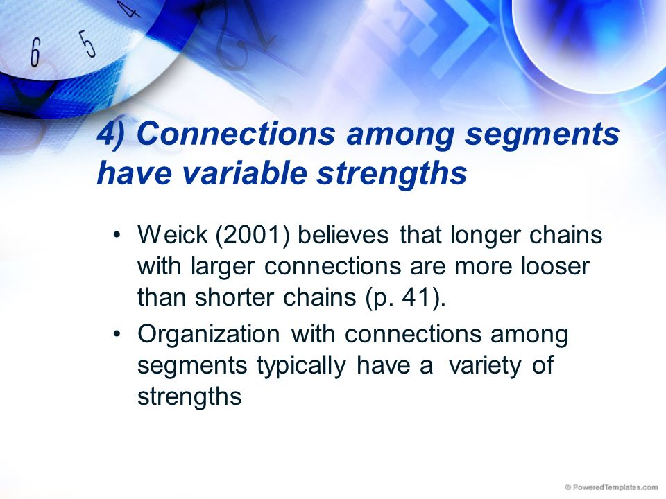 4) Connections among segments have variable strengths