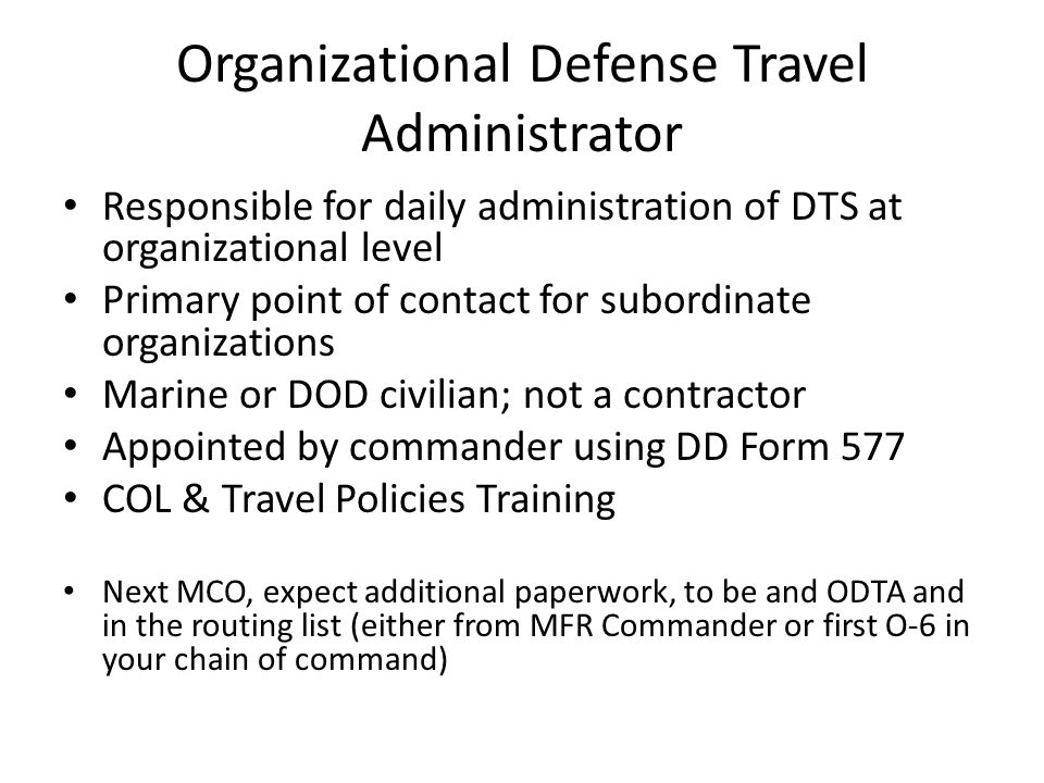 Organizational Defense Travel Administrator