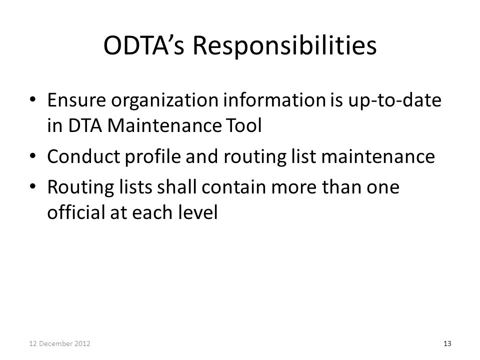 ODTA's Responsibilities