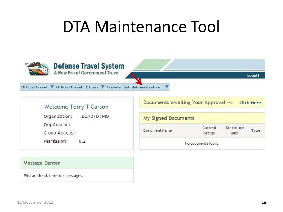DTA Maintenance Tool Permission #5 12 December 2012