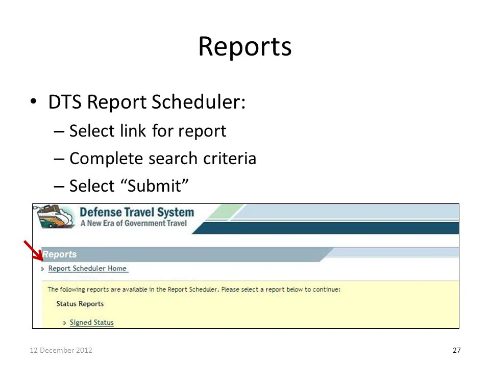 Reports DTS Report Scheduler: Select link for report