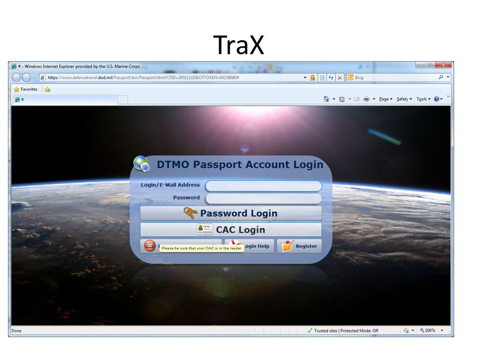 TraX If on a windows 7 machine: DOD CA-30