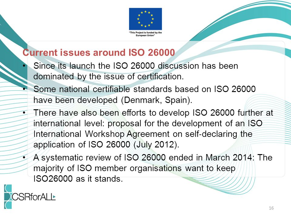 Current issues around ISO 26000