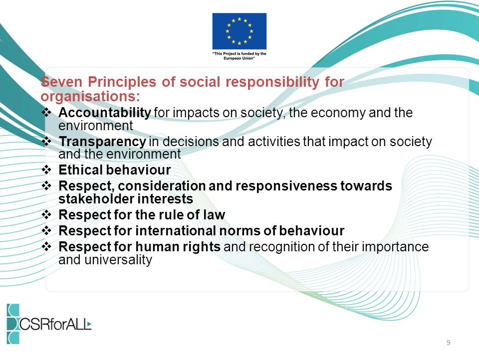 Seven Principles of social responsibility for organisations: