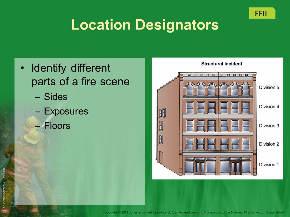 Location Designators Identify different parts of a fire scene Sides