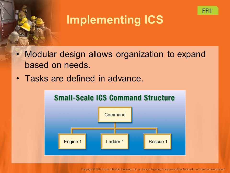 Implementing ICS Modular design allows organization to expand based on needs. Tasks are defined in advance.