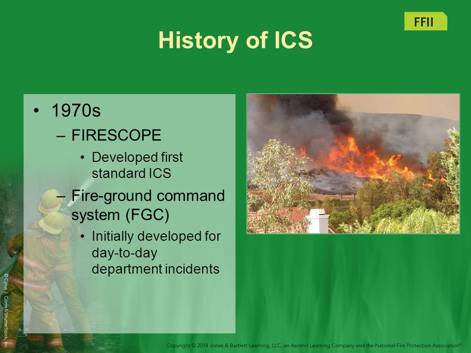 History of ICS 1970s FIRESCOPE Fire-ground command system (FGC)