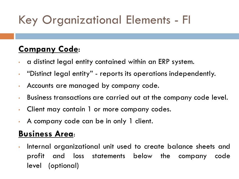 Key Organizational Elements - FI