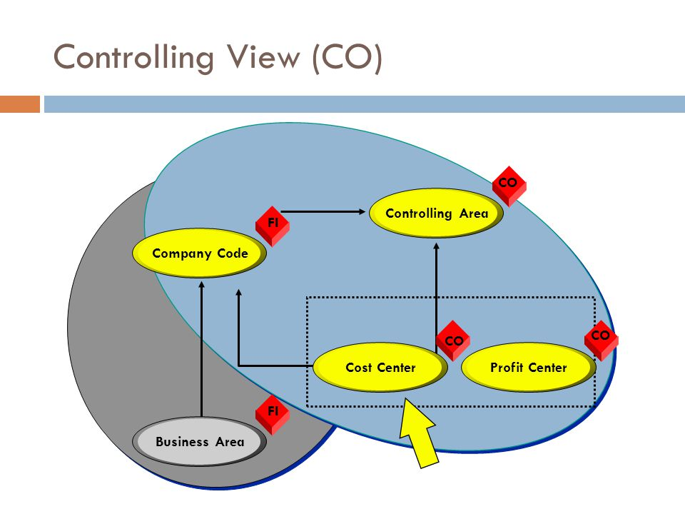 Controlling View (CO) CO Controlling Area FI Company Code CO CO