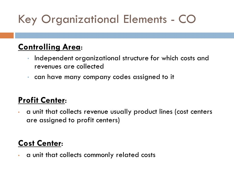 Key Organizational Elements - CO