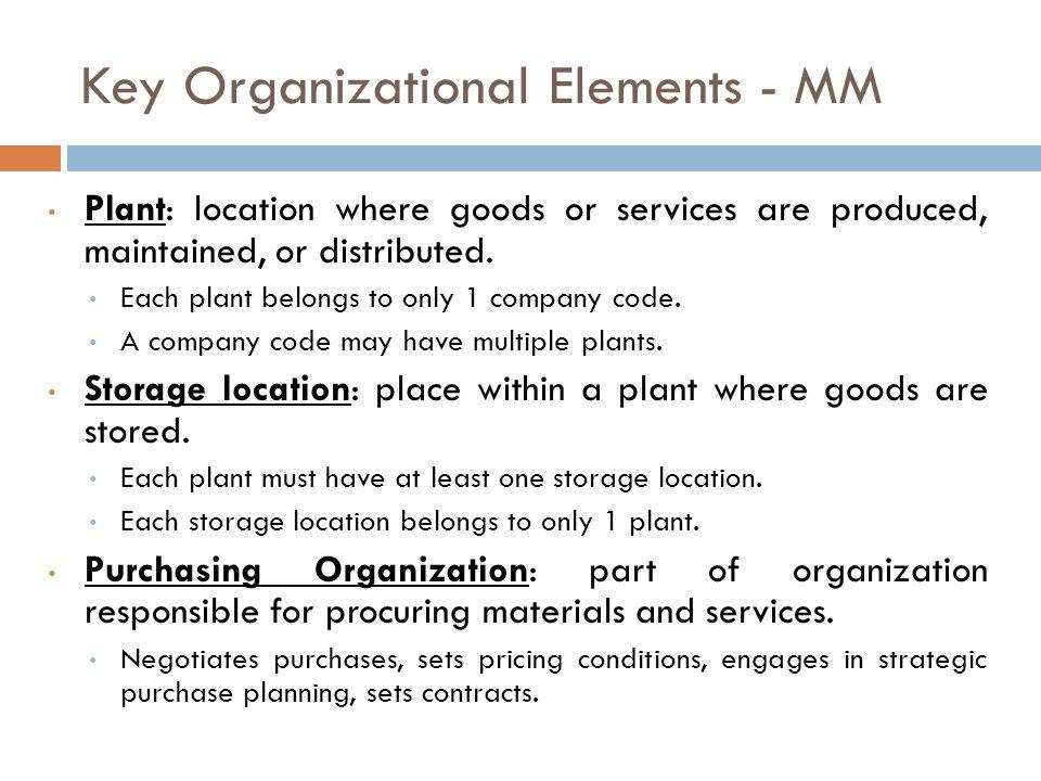 Key Organizational Elements - MM