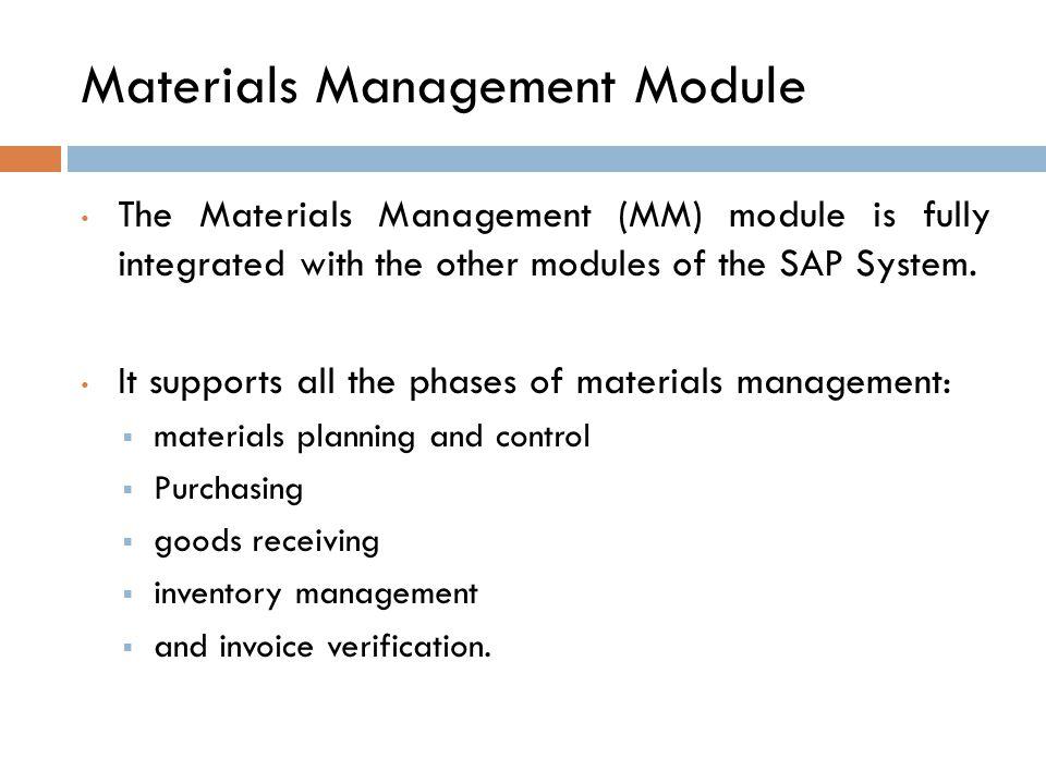 Materials Management Module