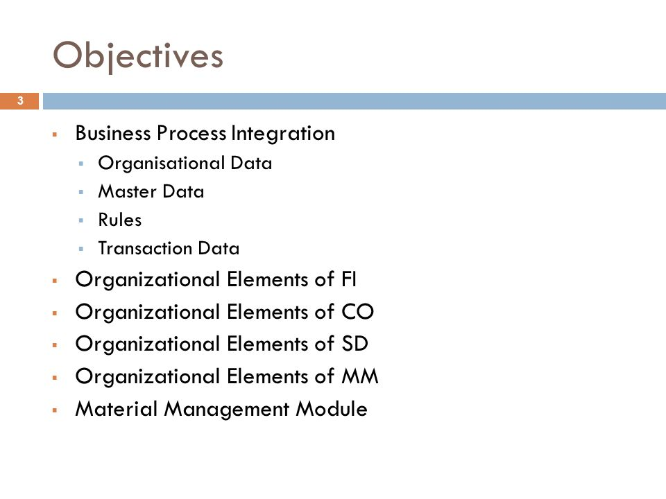 Objectives Business Process Integration Organizational Elements of FI