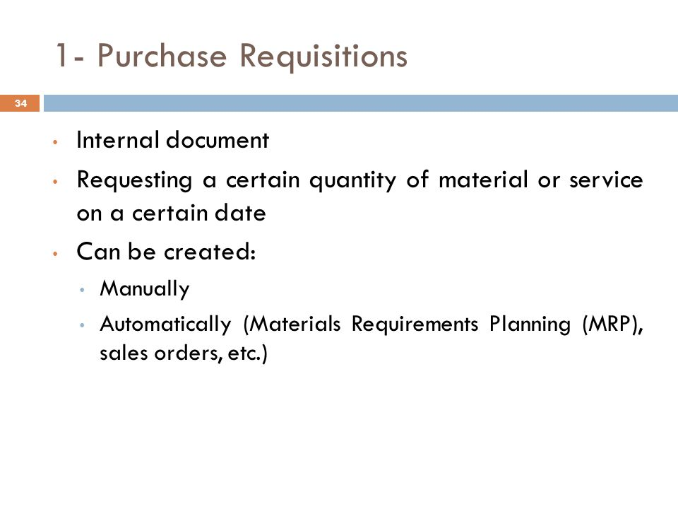 1- Purchase Requisitions