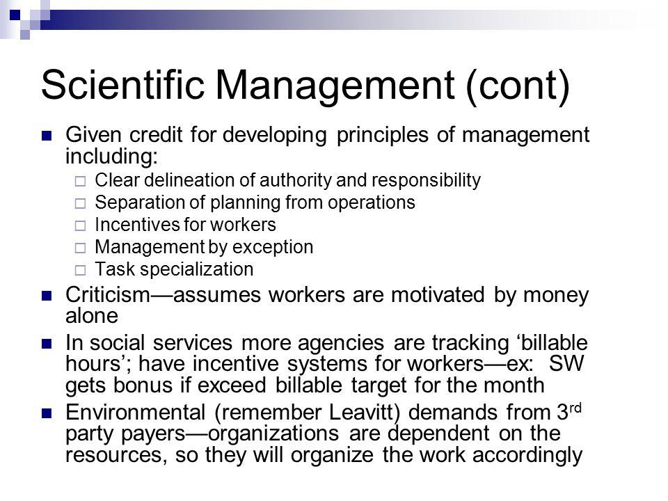 Scientific Management (cont)