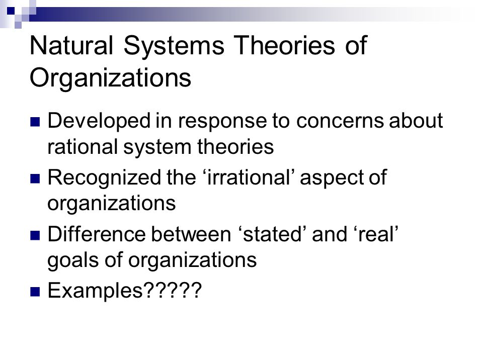 Natural Systems Theories of Organizations