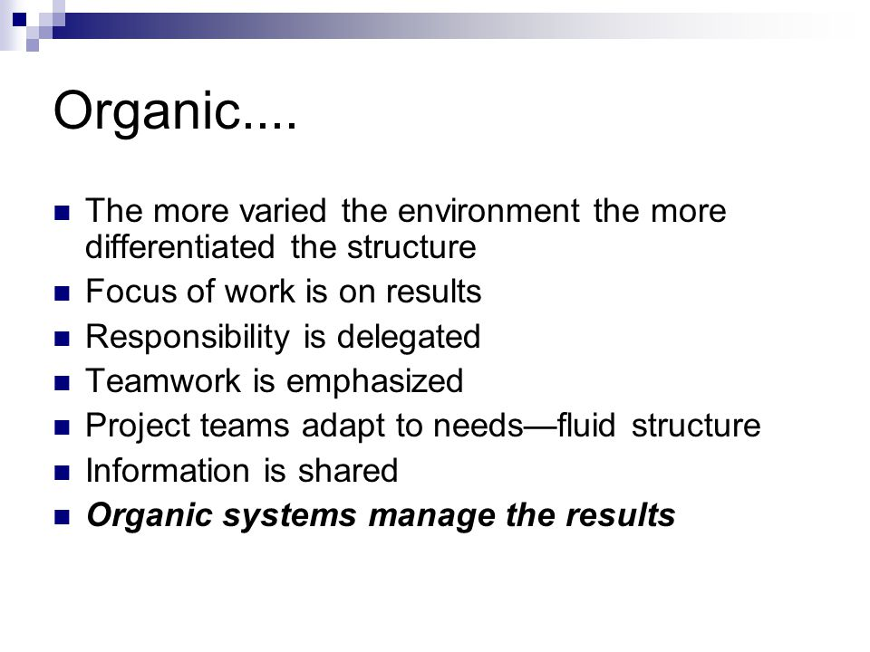 Organic.... The more varied the environment the more differentiated the structure. Focus of work is on results.
