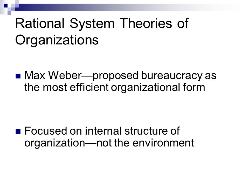 Rational System Theories of Organizations