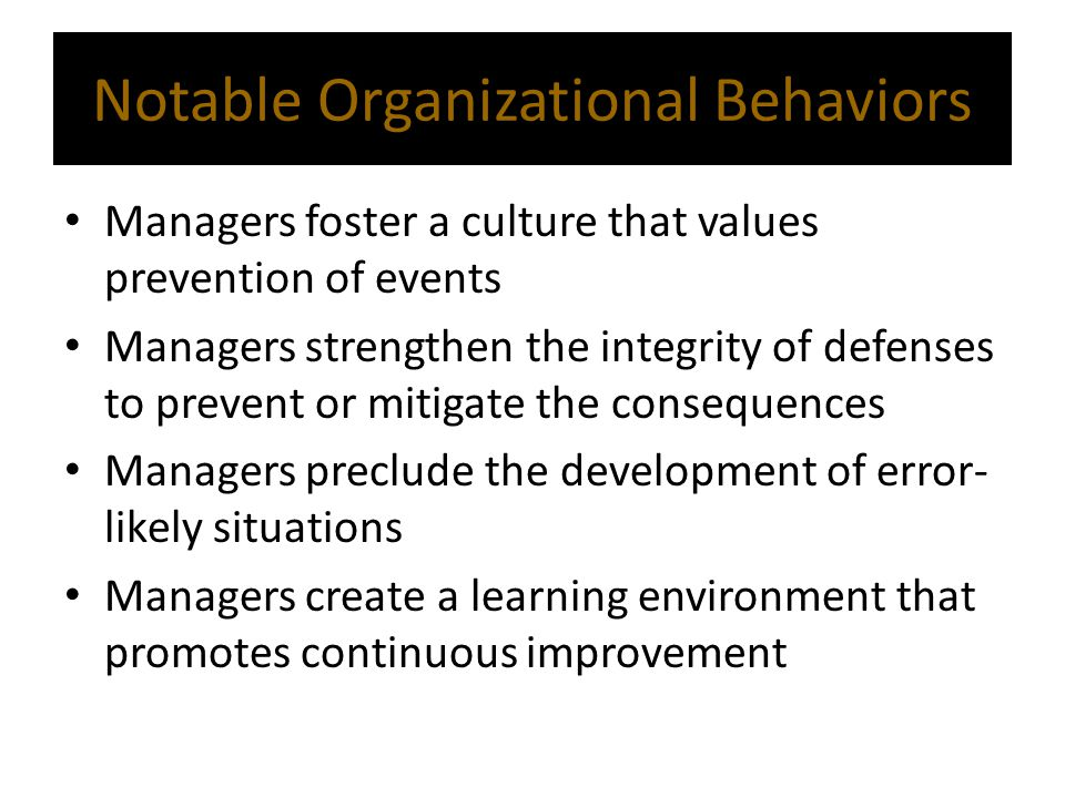 Notable Organizational Behaviors
