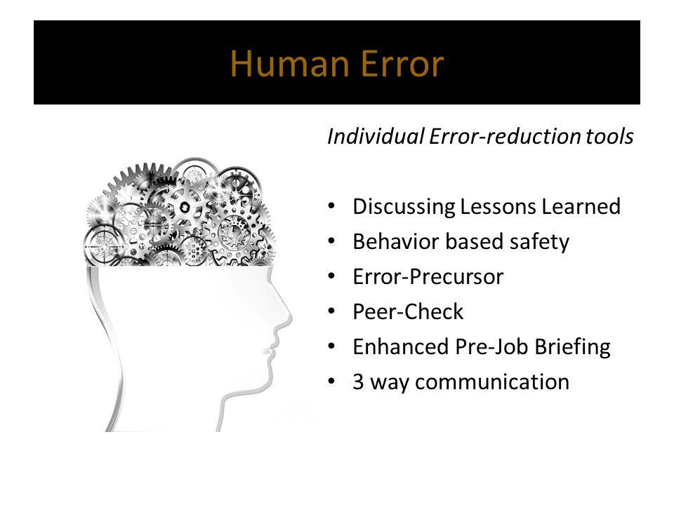 Individual Error-reduction tools