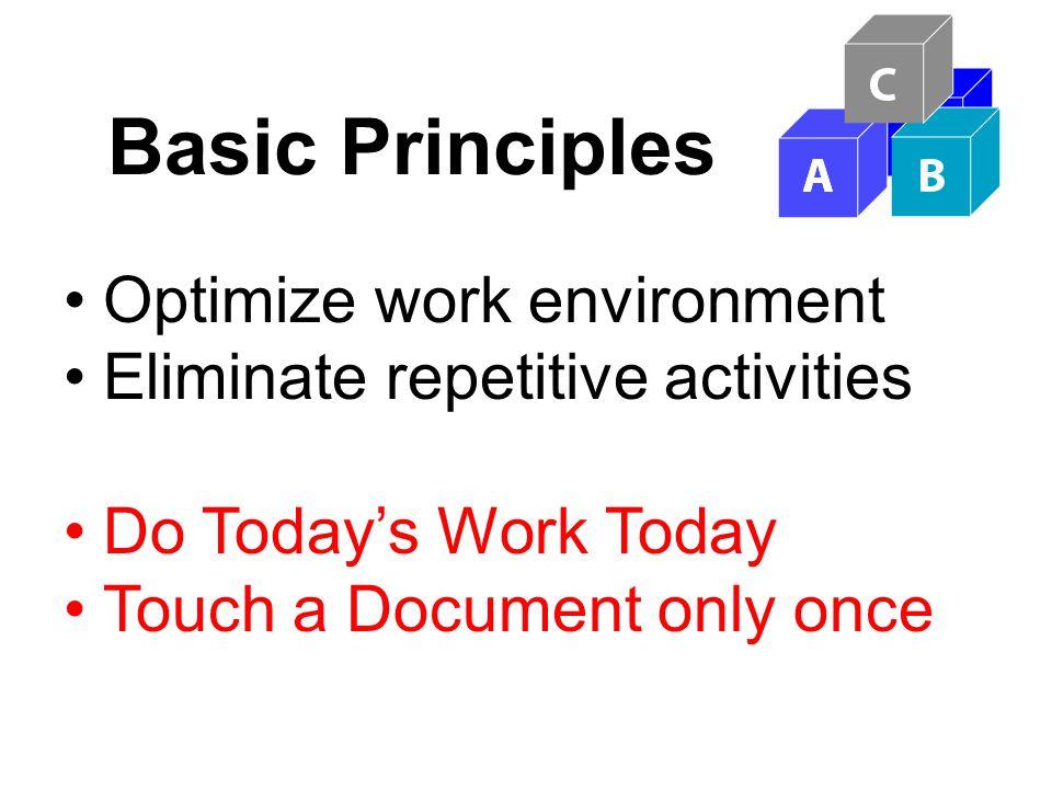 Basic Principles Optimize work environment