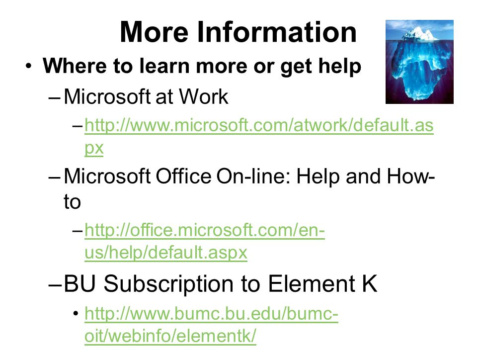 More Information BU Subscription to Element K