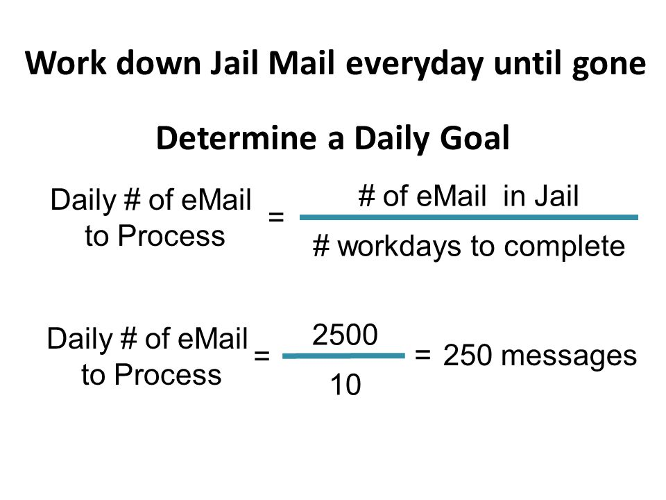 Work down Jail Mail everyday until gone