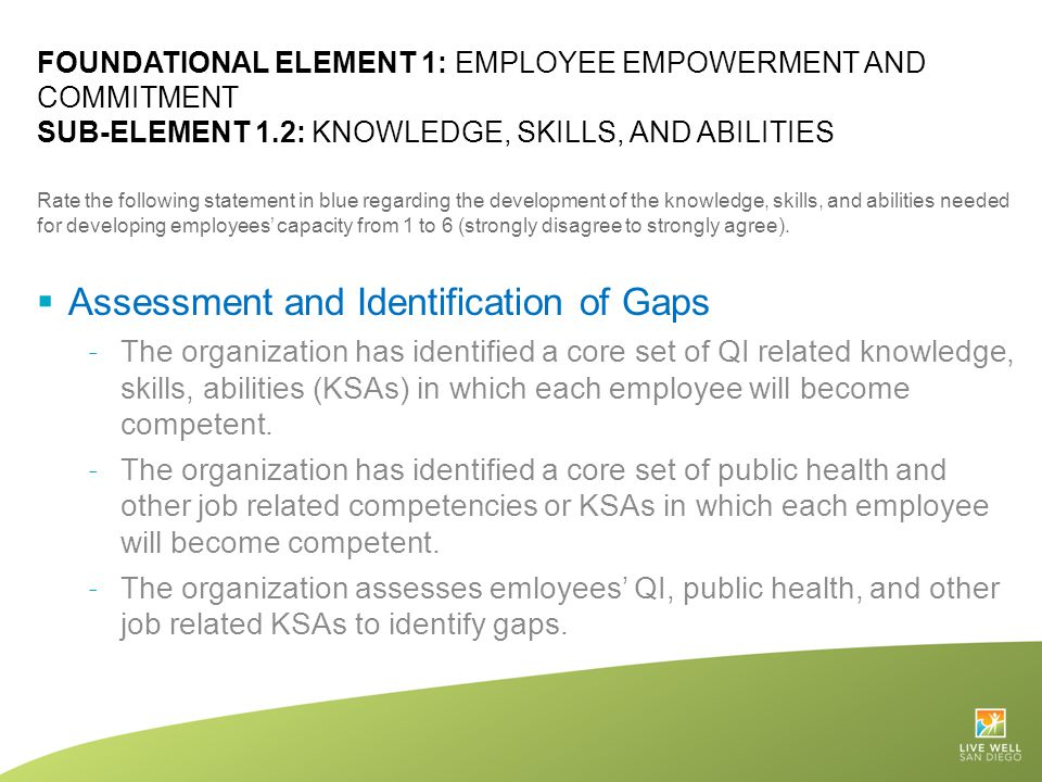 Assessment and Identification of Gaps