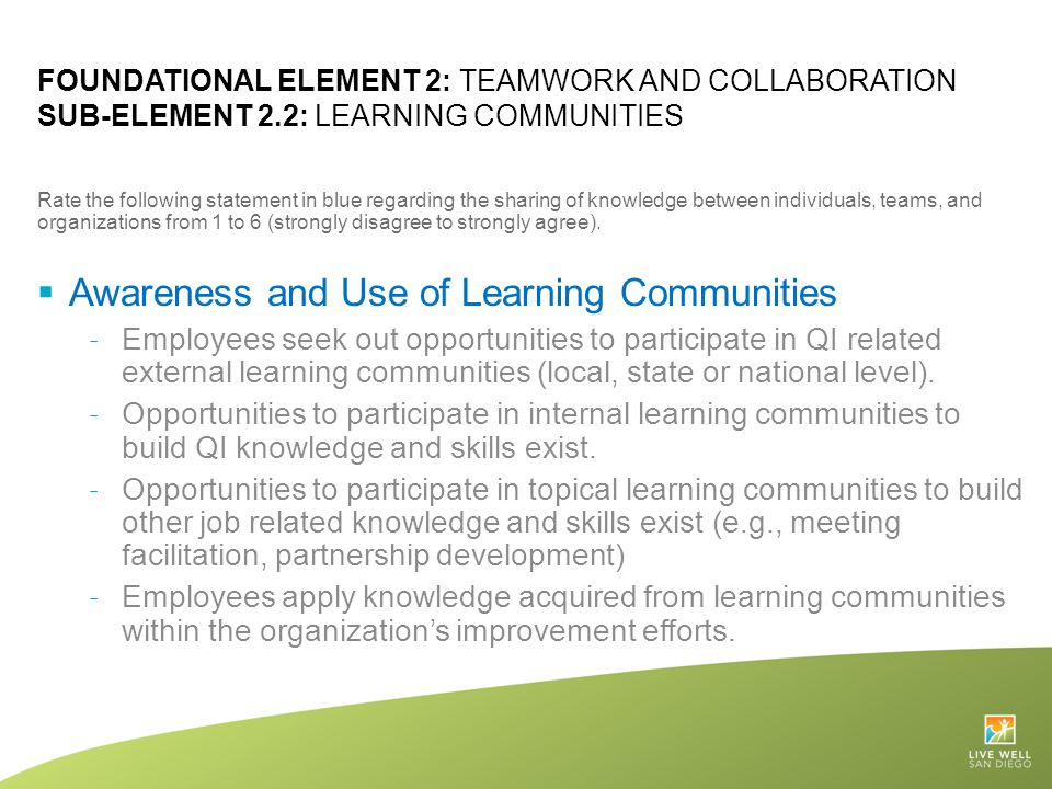 Awareness and Use of Learning Communities