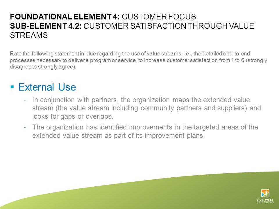 Foundational Element 4: Customer focus Sub-Element 4