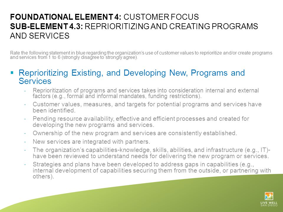 Reprioritizing Existing, and Developing New, Programs and Services