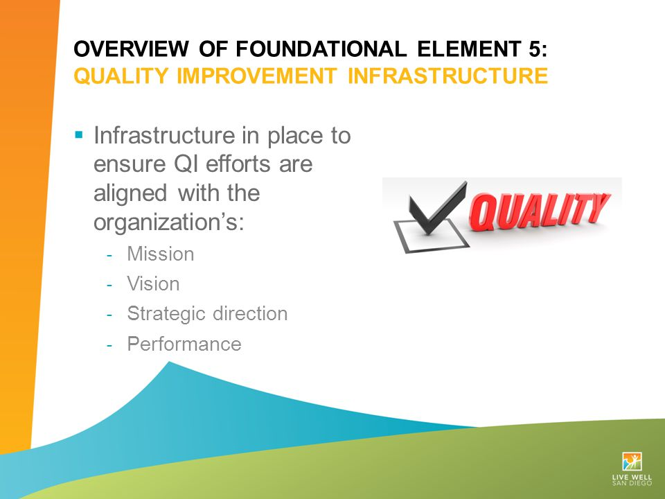 Overview of Foundational Element 5: Quality improvement infrastructure
