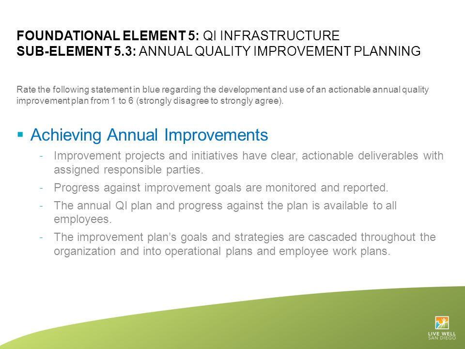 Achieving Annual Improvements