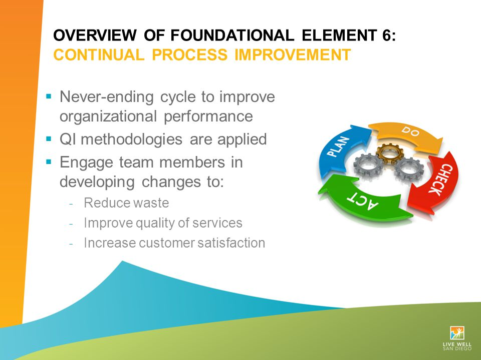 Overview of Foundational Element 6: Continual Process improvement